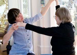 Nurse and patient dancing